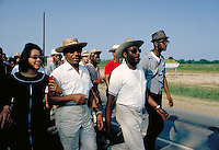 James Meredith March Through Mississippi, June 1966. Leading march into Jackson - front row, l to r - Ralph Abernathy, Coretta King, Martin Luther King Civil Rights. Black. Ralph Abernathy, Coretta King.