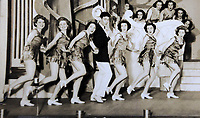 Pictured: Copy picture dated 1951, of the group of dancers Pat Stewart (2nd L) and Wendy Clarke (6th L) were dancing with in Blackpool, at the time when the iconic image by Bert Hardy was taken. Tuesday 01 March 2011<br /> Re: 77 year old Pat Stewart (nee Wilson) who now lives near Llantwit Major in the Vale of Glamorgan, south Wales claims she is one of the two young ladies in an iconic image taken by photographer Bert Hardy at Blackpool Promenade in July 1951, alongside fellow Tiller girl Wendy Clarke. Stewart is alleging that another woman, Norma Edmondson who has been claiming that it is her in the picture, is a fraud.