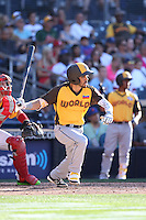 Carlos Asuaje of the World Team bats against the USA Team during The Futures Game at Petco Park on July 10, 2016 in San Diego, California. World Team defeated USA Team, 11-3. (Larry Goren/Four Seam Images)