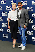 Tilda Swinton, left, and Matthias Schoenaerts attend a photocall for the movie 'A Bigger Splash' during the 72nd Venice Film Festival at the Palazzo Del Cinema in Venice, Italy, September 6, 2015. <br /> UPDATE IMAGES PRESS/Stephen Richie
