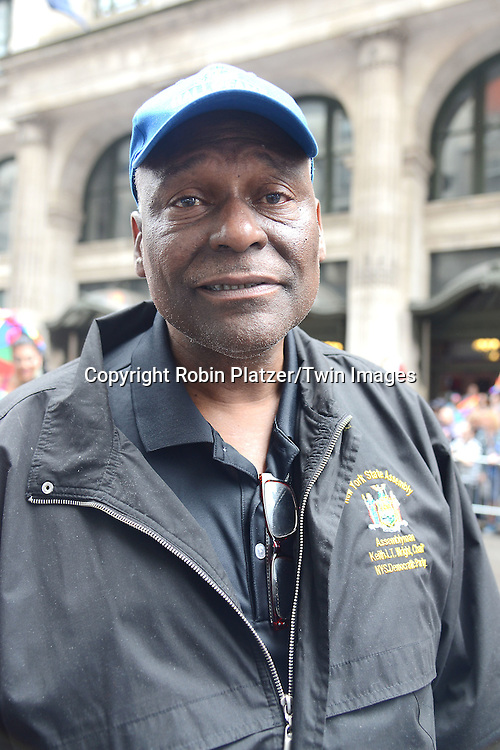 Keith Wright attends the 2015 NYC Pride March on June 28, 2015 on Fifth Avenue in New York City. <br /> <br /> photo by Robin Platzer/Twin Images<br />  <br /> phone number 212-935-0770