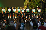 Bora-Hansgrohe on stage at the team presentation before the Tour de France 2020, Nice, France. 27th August 2020.<br /> Picture: ASO/Alex Broadway | Cyclefile<br /> All photos usage must carry mandatory copyright credit (© Cyclefile | ASO/Alex Broadway)