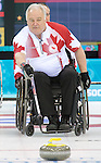 Sochi, RUSSIA - Mar 13 2014 -  Jim Armstrong as Canada takes on Slovakia in round robin play at the 2014 Paralympic Winter Games in Sochi, Russia.  (Photo: Matthew Murnaghan/Canadian Paralympic Committee)