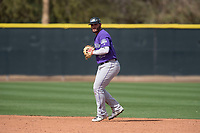 Colorado Rockies second baseman Avery Romero (37) during a Minor League Spring Training game against the Los Angeles Angels at Tempe Diablo Stadium Complex on March 18, 2018 in Tempe, Arizona. (Zachary Lucy/Four Seam Images)