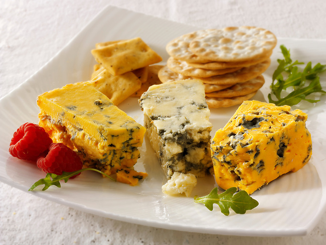 Cheese & biscuits with stilton, white stilton & blacksticks cheese.