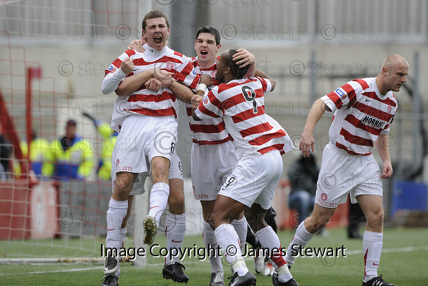 15/03/2008    Copyright Pic: James Stewart.File Name : sct_jspa02_hamilton_v_dundee.JAMES MCARTHUR CELEBRATES AFTER HE SCORES HAMILTON'S FIRST.James Stewart Photo Agency 19 Carronlea Drive, Falkirk. FK2 8DN      Vat Reg No. 607 6932 25.Studio      : +44 (0)1324 611191 .Mobile      : +44 (0)7721 416997.E-mail  :  jim@jspa.co.uk.If you require further information then contact Jim Stewart on any of the numbers above........