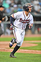 Southern Division catcher Brett Cumberland (28) of the Rome Braves runs to first base during the South Atlantic League All Star Game at Spirit Communications Park on June 20, 2017 in Columbia, South Carolina. The game ended in a tie 3-3 after seven innings. (Tony Farlow/Four Seam Images)