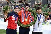 SPEEDSKATING: HAMAR: 01-03-2020, ISU World Speed Skating Championships, Allround, Final Podium, Sverre Lunde Pedersen (NOR), Patrick Roest (NED), Seitaro Ichinohe (JPN), ©photo Martin de Jong