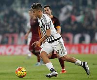 Juventus' Paulo Dybala in action during the Italian Serie A football match between Juventus and Roma at Juventus Stadium.