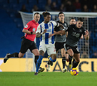 Brighton & Hove Albion's Gaetan Bong (left) under pressure from Burnley's Ashley Westwood (right) <br /> <br /> Photographer David Horton/CameraSport<br /> <br /> The Premier League - Brighton and Hove Albion v Burnley - Saturday 9th February 2019 - The Amex Stadium - Brighton<br /> <br /> World Copyright © 2019 CameraSport. All rights reserved. 43 Linden Ave. Countesthorpe. Leicester. England. LE8 5PG - Tel: +44 (0) 116 277 4147 - admin@camerasport.com - www.camerasport.com