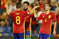 Spain's Koke Resurreccion, Isco Alarcon and Alvaro Odriozola celebrate goal during FIFA World Cup 2018 Qualifying Round match. October 6,2017. *** Local Caption *** © pixathlon<br /> Contact: +49-40-22 63 02 60 , info@pixathlon.de