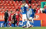 Aberdeen v St Johnstone…18.09.21  Pittodrie    SPFL<br />James Brown and Zander Clark celebrate at full time<br />Picture by Graeme Hart.<br />Copyright Perthshire Picture Agency<br />Tel: 01738 623350  Mobile: 07990 594431