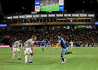 CARSON, CA - MARCH 07: Rolf Feltscher #25 of the Los Angeles Galaxy defending during a game between Vancouver Whitecaps and Los Angeles Galaxy at Dignity Health Sports Park on March 07, 2020 in Carson, California.