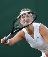 Victoria Azarenka (BLR) during her match against Alize Cornet (FRA) in their Ladies' Singles First Round match<br /> <br /> Photographer Rob Newell/CameraSport<br /> <br /> Wimbledon Lawn Tennis Championships - Day 1 - Monday 1st July 2019 -  All England Lawn Tennis and Croquet Club - Wimbledon - London - England<br /> <br /> World Copyright © 2019 CameraSport. All rights reserved. 43 Linden Ave. Countesthorpe. Leicester. England. LE8 5PG - Tel: +44 (0) 116 277 4147 - admin@camerasport.com - www.camerasport.com