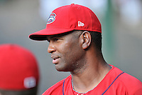 Pitching coach Walter Miranda of the Greenville Drive in a game against the Charleston RiverDogs on Friday, August 14, 2015, at Fluor Field at the West End in Greenville, South Carolina. Charleston won 6-2. (Tom Priddy/Four Seam Images)