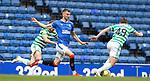 02.05.2121 Rangers v Celtic: Borna Barisic beats Jonjoe Kelly and James Forrest