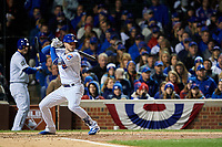 Chicago Cubs Kris Bryant (17) bats in the fourth inning during Game 5 of the Major League Baseball World Series against the Cleveland Indians on October 30, 2016 at Wrigley Field in Chicago, Illinois.  (Mike Janes/Four Seam Images)