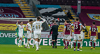 9th January 2021; Turf Moor, Burnley, Lanchashire, England; English FA Cup Football, Burnley versus Milton Keynes Dons; Richard Keogh of MK Dons receives a red card from the referee which is later ruled out after VAR review