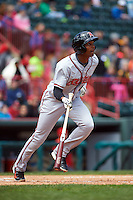 Richmond Flying Squirrels outfielder Daniel Carbonell (46) at bat during a game against the Erie Seawolves on May 20, 2015 at Jerry Uht Park in Erie, Pennsylvania.  Erie defeated Richmond 5-2.  (Mike Janes/Four Seam Images)