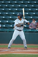 Canaan Smith (15) of the Charleston RiverDogs at bat against the Hickory Crawdads at L.P. Frans Stadium on August 10, 2019 in Hickory, North Carolina. The RiverDogs defeated the Crawdads 10-9. (Brian Westerholt/Four Seam Images)