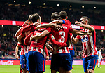 Antoine Griezmann of Atletico de Madrid celebrates his third goal with teammates during the La Liga 2017-18 match between Atletico de Madrid and CD Leganes at Wanda Metropolitano on February 28 2018 in Madrid, Spain. Photo by Diego Souto / Power Sport Images