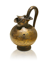 Phrygian bronze trefoil spouted jug from Gordion . Phrygian Collection, 8th century BC - Museum of Anatolian Civilisations Ankara. Turkey. Against a white background