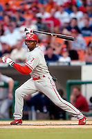 3 September 2005: Kenny Lofton, outfielder for the Philadelphia Phillies, at bat during a game against the Washington Nationals. The Nationals defeated the Phillies 5-4 at RFK Stadium in Washington, DC. <br />