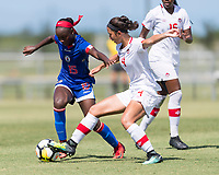 Bradenton, FL - Sunday, June 12, 2018: Danielle Etienne, Sonia Walk prior to a U-17 Women's Championship 3rd place match between Canada and Haiti at IMG Academy. Canada defeated Haiti 2-1.