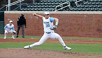 CHAPEL HILL, NC - FEBRUARY 27: Nik Pry #36 of North Carolina throws a pitch during a game between Virginia and North Carolina at Boshamer Stadium on February 27, 2021 in Chapel Hill, North Carolina.