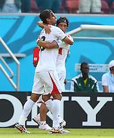 Bryan Ruiz of Costa Rica (left) celebrates scoring his goal to make the score 1-0