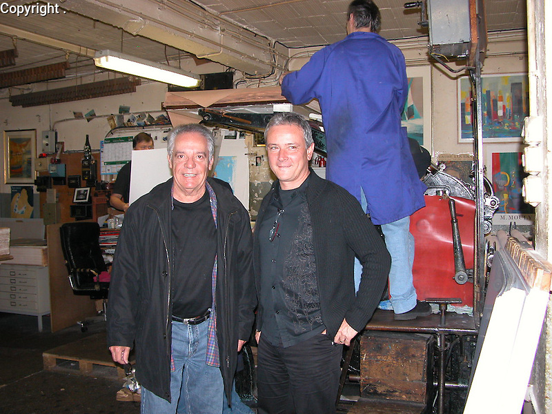 Guy and Arts Litho owner, Stephane Guilbault, at his lithographie business, Arts Litho in Paris.
