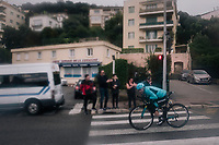 Hugo Houle (CAN/Astana) in a tuck position in the streets of Nice<br /> <br /> 76th Paris-Nice 2018<br /> Stage 8: Nice > Nice (110km)