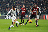 Calcio, quarti di finale di Tim Cup: Juventus vs Milan. Torino, Juventus Stadium, 25 gennaio 2017.<br /> Juventus' Paulo Dybala, left, kicks to score past AC Milan's Alessio Romagnoli, right, during the Italian Cup quarter finals football match between Juventus and AC Milan at Turin's Juventus stadium, 25 January 2017.<br /> UPDATE IMAGES PRESS/Manuela Viganti