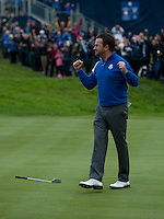 28.09.2014. Gleneagles, Auchterarder, Perthshire, Scotland. The Ryder Cup, final day.  Graeme McDowell (EUR) celebrates team Europe second point on Sunday Singles.  Team Europe won the trophy sixteen and a half points to eleven and a half.