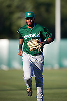 Daytona Tortugas right fielder Narciso Crook (34) jogs to the dugout during a game against the Florida Fire Frogs on April 6, 2017 at Osceola County Stadium in Kissimmee, Florida.  Daytona defeated Florida 3-1.  (Mike Janes/Four Seam Images)