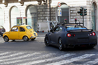 A yellow Fiat 500 car running on the set of the film Mission Impossible 7 shot in Via Nazionale. The stuntman car and the camera car had a crash while shooting<br /> Rome (Italy), October 9th 2020<br /> Photo Samantha Zucchi Insidefoto