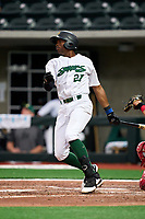 Beloit Snappers Thomas Jones (27) bats during a game against the Peoria Chiefs on August 18, 2021 at ABC Supply Stadium in Beloit, Wisconsin.  (Mike Janes/Four Seam Images)