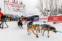 Matt Failor leaves the start line during the restart of the 2019 Iditarod race in Willow, Alaska on Sunday March 3, 2019.<br /> <br /> Photo by Jeff Schultz/  (C) 2019  ALL RIGHTS RESERVED