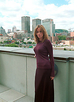 French actress Emanuelle Bear  who is the President of the 25th  World Film Festival's  Jury pose  in front of Montreal's skyline,  at  a reception at Montreal City Hall, august 29th , 200l in Montreal, CANADA.<br /> <br /> Brought up on a farm in Provence because her father, French singer and poet Guy BÈart didn't want her to be affected by the glamour world of Paris showbusiness, Emmanuelle BÈart nevertheless got the acting urge in early adolescence. At age 15, after a couple of bit parts, she came to Montreal as an au pair to learn English. Back in France, after acting lessons and few small roles in television, she made her big-screen breakthrough in the title role of Claude Berri's Pagnol adaptation, MANON OF THE SPRING (1986). A year later she made her Hollywood debut in Tom McLoughlin's DATE WITH AN ANGEL. She has since played for some of the premier directors on both sides of the Atlantic: Rivette (LA BELLE NOISEUSE, 1991), Sautet (NELLY AND MR. ARNAUD (1995), Chabrol (L'ENFER,1994), De Palma (MISSION: IMPOSSIBLE, 1996) and Ruiz (TIME REGAINED, 1999). She stars in Catherine Corsini's REPLAY, showing at this year's Festival.<br /> <br /> <br /> Photo by John Raudsepp / Getty Images<br /> (ON SPEC- Scanned & Transmitted  by & Payable to<br /> Pierre Roussel)<br /> <br /> NOTE : 35mm film scan