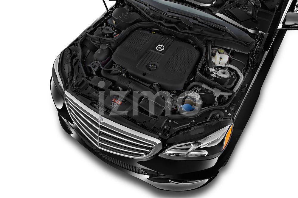 Car stock 2015 Mercedes Benz E-Class E250 BlueTEC Luxury 4 Door Sedan engine high angle detail view
