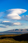 Lenticular clouds. Torres del Paine National Park, Patagonia, Chile.