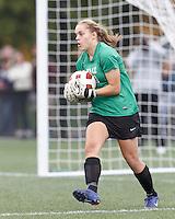 Yale University goalkeeper Rachel Ames (0). In overtime, Harvard University defeated Yale University,1-0, at Soldiers Field Soccer Stadium, on September 29, 2012.