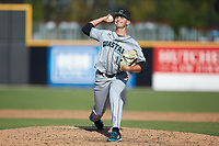 Coastal Carolina Chanticleers relief pitcher Shaddon Peavyhouse (13) in action against the Duke Blue Devils at Segra Stadium on November 2, 2019 in Fayetteville, North Carolina. (Brian Westerholt/Four Seam Images)
