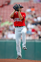 """July 28, 2009:  Starting Pitcher Junichi Tazawa of the Pawtucket Red Sox delivers a pitch during a game at Coca-Cola Field in Buffalo, NY.  Tazawa was signed out of Japan and making his """"AAA"""" debut with Pawtucket, the International League Triple-A affiliate of the Boston Red Sox.  Photo By Mike Janes/Four Seam Images"""