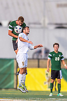 24 September 2016: Dartmouth College Big Green Midfielder Matt Danilack, a Junior from Rockville, MD, battles University of Vermont Catamount Midfielder Charlie DeFeo, a Graduate from Newfields, NH, at Virtue Field in Burlington, Vermont. The teams played to an overtime 1-1 tie in front of an Alumni Weekend crowd of 1,710 fans. Mandatory Credit: Ed Wolfstein Photo *** RAW (NEF) Image File Available ***