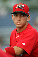September 5 2008:  Jose Garcia of the Batavia Muckdogs, Class-A affiliate of the St. Louis Cardinals, during a game at Dwyer Stadium in Batavia, NY.  Photo by:  Mike Janes/Four Seam Images