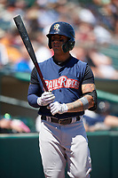 Scranton/Wilkes-Barre RailRiders shortstop Gleyber Torres (7) on deck on deck during a game against the Rochester Red Wings on June 7, 2017 at Frontier Field in Rochester, New York.  Scranton defeated Rochester 5-1.  (Mike Janes/Four Seam Images)