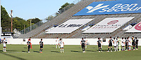 RICHMOND, VA - SEPTEMBER 30: The players for both teams stopped play during the ninth minute of the game and stood around the center circle in a minute of silence in honor of the victims of system racism and violence during a game between North Carolina FC and New York Red Bulls II at City Stadium on September 30, 2020 in Richmond, Virginia.