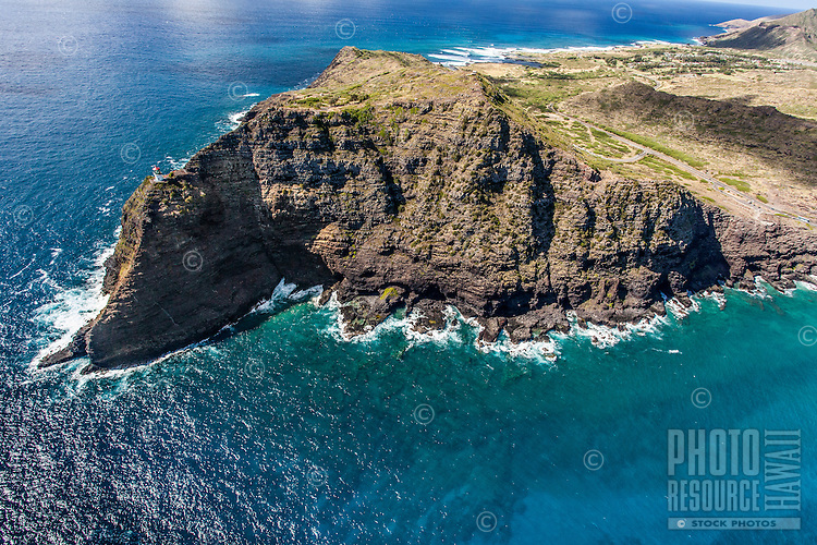 An aerial view of Makapu'u Point and Makapu'u Lighthouse, East O'ahu.