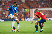 Spain's Jordi Alba and Italy's Matteo Darmian during match between Spain and Italy to clasification to World Cup 2018 at Santiago Bernabeu Stadium in Madrid, Spain September 02, 2017. (ALTERPHOTOS/Borja B.Hojas)